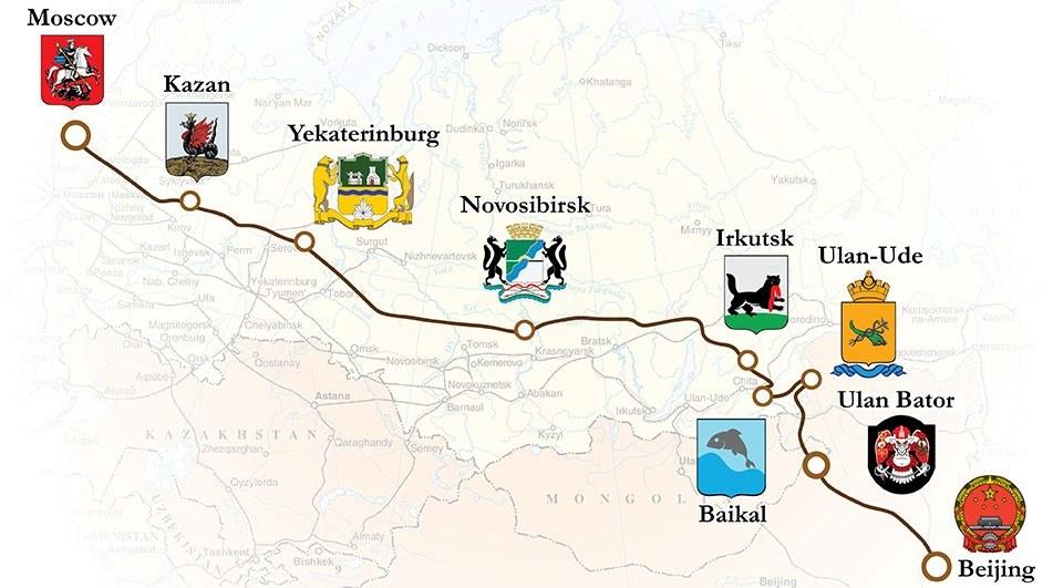 Mapa da Transiberiana até Beijing