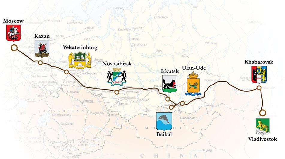 Mapa da Transiberiana ate Vladivostok